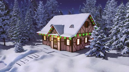 Wall Mural - Solitary snowbound half-timbered rural house decorated for Christmas among snow covered fir forest at winter night during snowfall. With no people 3D animation for Xmas or New Year rendered in 4K
