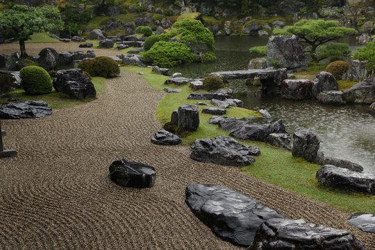 Sanbo-in japanese zen garden under the heavy rain