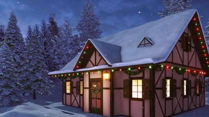 Wall Mural - Facade of snow covered half-timbered rustic house decorated for Xmas with christmas lights, wreath and garlands among snowy fir forest at snowfall winter night. Festive 3D animation rendered in 4K