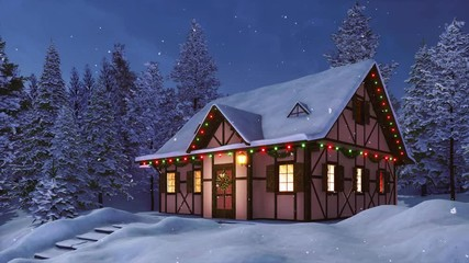 Wall Mural - Cozy half-timbered rustic house decorated for Xmas with christmas lights and garlands among snow covered fir forest at winter night during snowfall. With no people festive 3D animation rendered in 4K