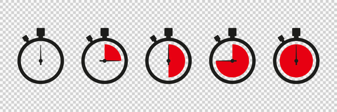 Timers icon on transparent background. Isolated vector elements. Stopwatch symbol. Vector countdown circle clock counter timer. Fast time icon. Circle arrow icon.