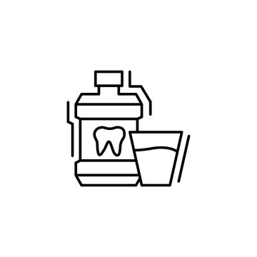 Mouthwash water icon. Simple line, outline vector of dentistry icons for ui and ux, website or mobile application