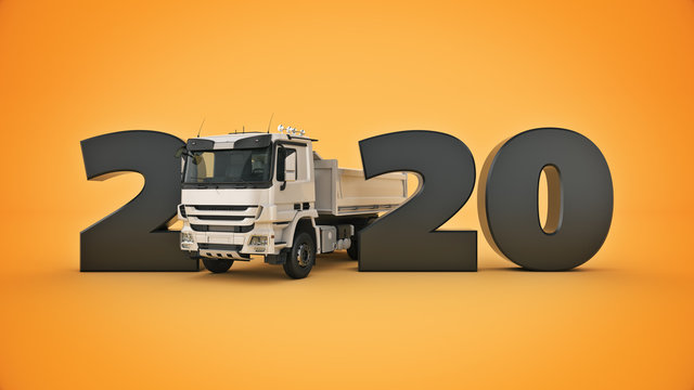 Truck concept 2020 New Year sign. 3d rendering