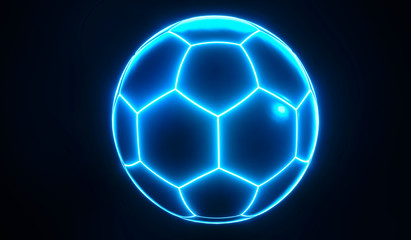 Artistic glowing blue championship soccer ball