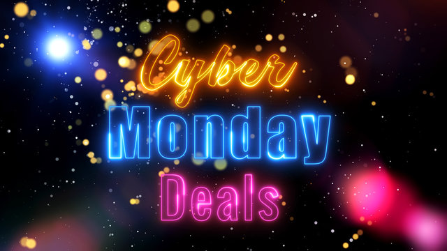Cyber Monday Deals Discount Sale Concept Neon Light With Abstract Shiny Flare Glitter Bokeh Lights And Sparkles Background Design
