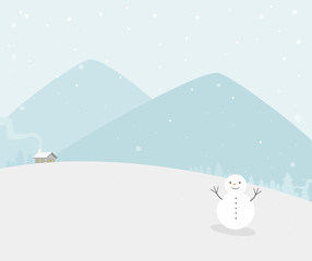 Vector of winter scenes with snowman in the foreground and blue mountains in the background