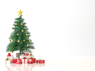 Christmas tree on white background 3d render,decorate with red and white gift box.