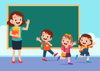 Obraz happy cute kids go home from school - fototapety do salonu