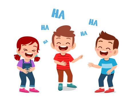 happy cute kids boy and girl laugh together