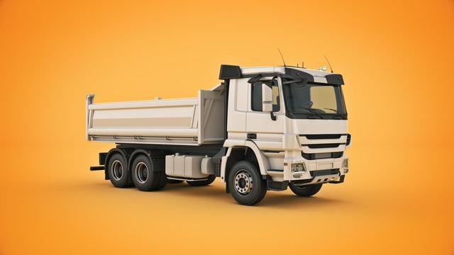 white dump truck. 3d rendering