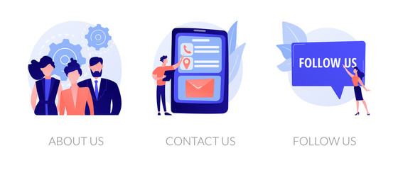 Customer loyalty and technical support web icons set. Clients hotline. Website information. About us, contact us, follow us metaphors. Vector isolated concept metaphor illustrations Fotomurales