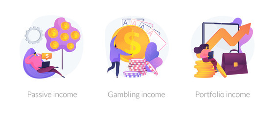 Money earning flat icons set. Business investment, profit increase, revenue growth. Passive income, gambling income, portfolio income metaphors. Vector isolated concept metaphor illustrations.