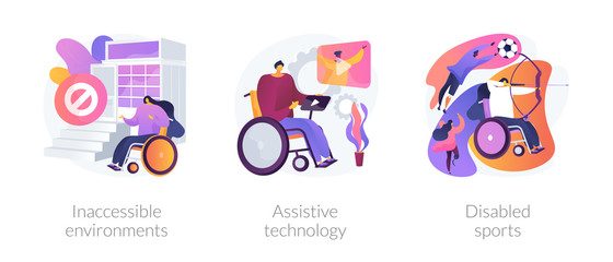 Handicapped people accessibility flat icons set. Disabled activity. Inaccessible environments, assistive technology, disabled sports metaphors. Vector isolated concept metaphor illustrations.
