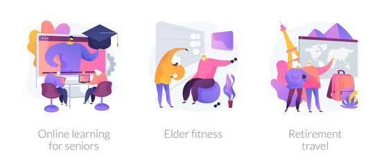 Wall Mural - Pensioners lifestyle flat icons set. Grandparents couple planning trip. Online learning for seniors, elder fitness, retirement travel metaphors. Vector isolated concept metaphor illustrations.
