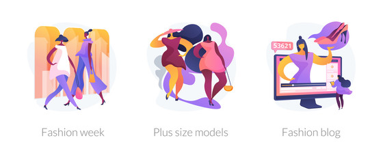 Women clothes design flat icons set. Beauty blogger, women apparel vlog, couture clothing. Fashion week, plus size models, fashion blog metaphors. Vector isolated concept metaphor illustrations.