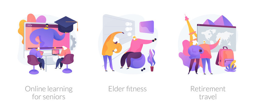 Pensioners lifestyle flat icons set. Grandparents couple planning trip. Online learning for seniors, elder fitness, retirement travel metaphors. Vector isolated concept metaphor illustrations.