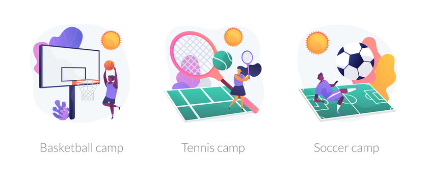 Physical activity classes flat icons set. Professional sportsman training courses. Basketball camp, tennis camp, soccer camp metaphors. Vector isolated concept metaphor illustrations.