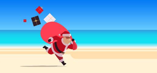 santa claus running with big sack full of gifts happy new year christmas vacation holiday celebration concept tropical beach seascape background full length flat horizontal vector illustration