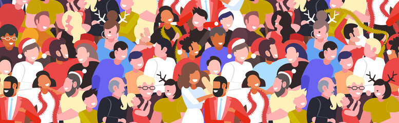 people celebrating merry christmas happy new year party winter holidays concept mix race men women crowd standing together having fun horizontal portrait vector illustration