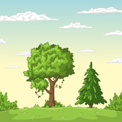 Wall Mural - Cartoon summer landscape. Hand drawn vector illustration with separate layers.