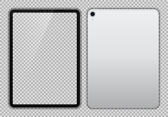 Realistic White / Silver Drawing Pad with Transparent Screen. 11 inch Scalable Tablet. Front and Back Display View. High Detailed Device Mockup. Separate Groups and Layers. Easily Editable Vector