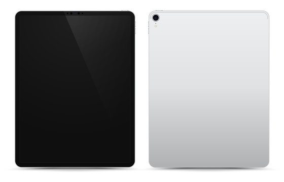 Realistic Silver / White Drawing Pad with Black Screen. 12.9 inch Scalable Tablet. Front and Back Display View. High Detailed Device Mockup. Separate Groups and Layers. Easily Editable Vector