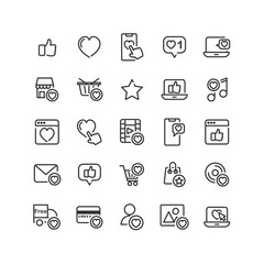 Social Network Like outline icon set. Vector and Illustration.