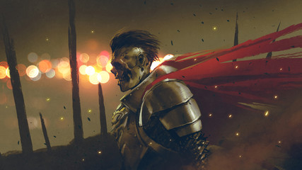 Zelfklevend Fotobehang Grandfailure the undead knight in medieval armors prepares for battle against a background dawn, digital art style, illustration painting