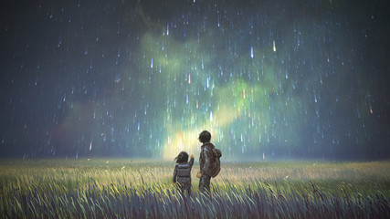 Zelfklevend Fotobehang Grandfailure brother and sister in a meadow looking at meteors in the sky, digital art style, illustration painting