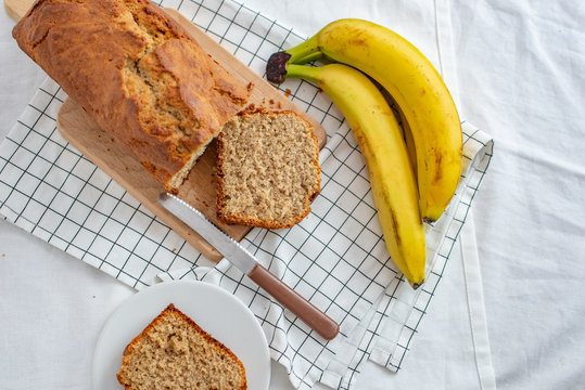 Healthy home made banana bread or cake for breakfast on a table
