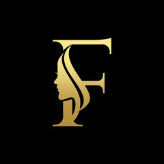 Letter F Beauty Women Face Logo Design Vector