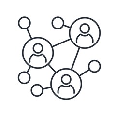 Networks. Business Connections. Social Media. Vector linear icon on a white background.