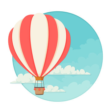 Red and white striped hot air balloon with clouds and a blue sky the the background. Icon, poster, greeting card design template.