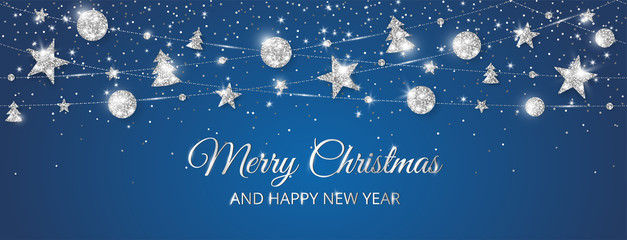 Merry Christmas banner with sparkling silver decoration on black background