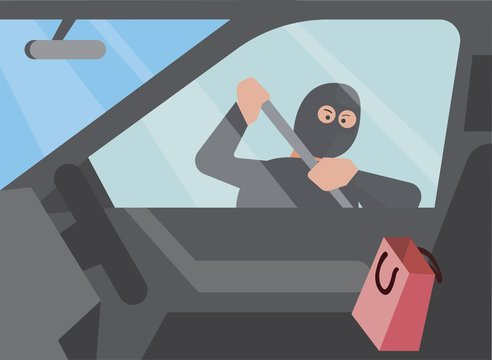 car thief trying to break into a car with shopping bag, view from inside car flat illustration editable vector