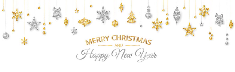 Wall Mural - Merry Christmas banner with gold and silver decoration on white background