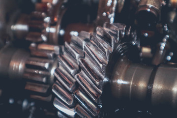 Interior of a worn and used car gearbox.
