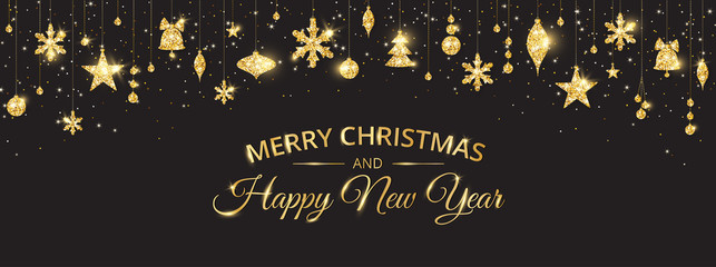 Wall Mural - Merry Christmas banner with sparkling gold decoration on black background