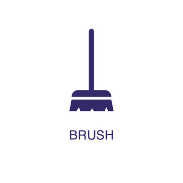 Brush element in flat simple style on white background. Brush icon, with text name concept template