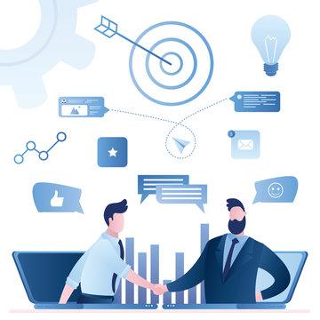 Online web communication, email marketing. Businessman handshake.B2B sales person