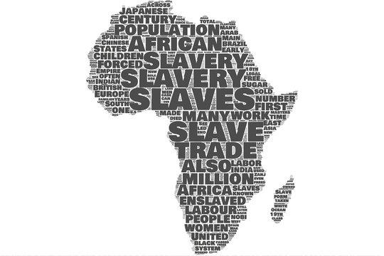 Slavery Africa map word cloud