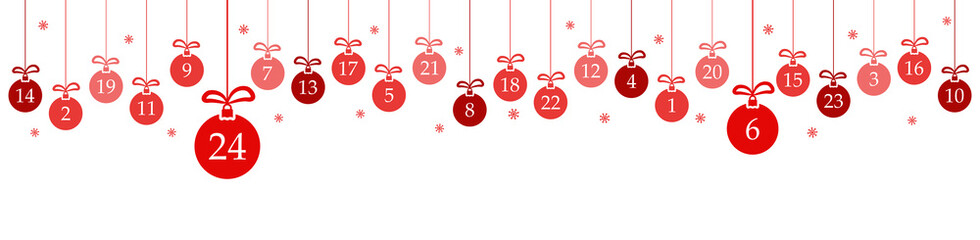 Wall Mural - advent calendar 1 to 24 on christmas baubles