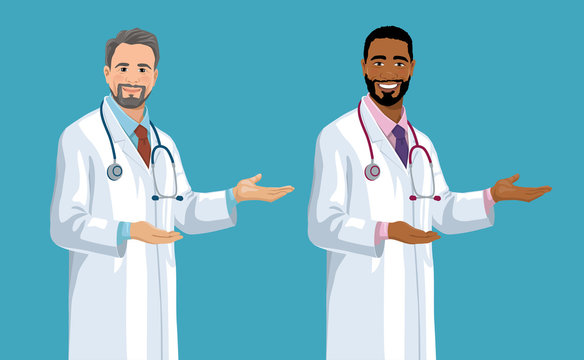 Set of smiling European and African American middle-aged doctors. Handsome men with gray hair and beard wearing a lab coat stands and points by hand palm. Vector illustration