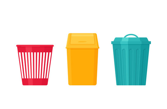Garbage can. Trash bin. Vector. Plastic, metal dustbin icon. Flat design. Rubbish pail isolated on white background. Cartoon illustration.