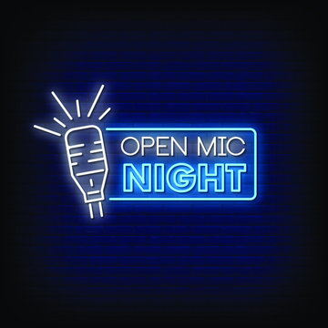 Open Mic Night Neon Signs Style Text Vector