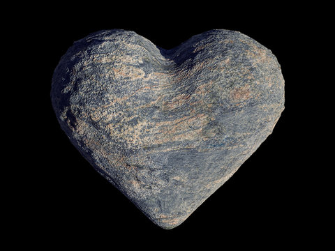 natural grey stone heart, romantic shaped rock isolated on black background