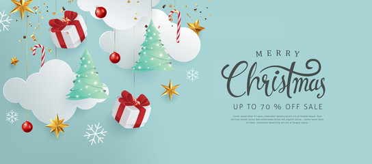 Merry christmas and happy new year banner background with Xmas festive decoration.Happy New Year poster, greeting card, header, website.Merry Christmas text Calligraphic Lettering Vector illustration. Fotomurales