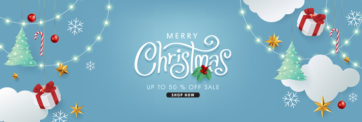 Fototapete - Merry christmas and happy new year banner background with Xmas festive decoration.Happy New Year poster, greeting card, header, website.Merry Christmas text Calligraphic Lettering Vector illustration.