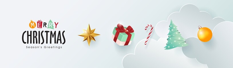 Fototapete - Merry christmas and happy new year banner background with Xmas festive decoration.Happy New Year poster, greeting card, header, website.Vector illustration.