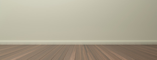 Empty room, wooden floor and painted wall. 3d illustration
